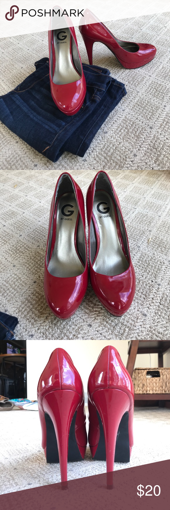 60a706ea26b Guess Red Patent Leather Pumps Size 9 red heels, only worn a handful ...