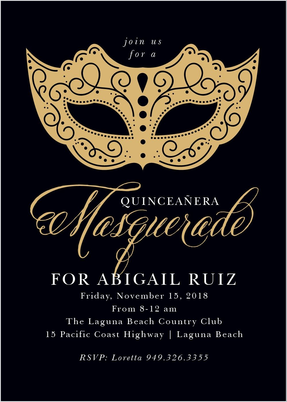 Masquerade Mask Foil Quinceanera Party Invitations