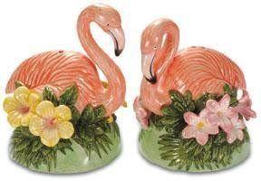 Pink Flamingo Mingo Garden Salt & Pepper Shaker S/P Set