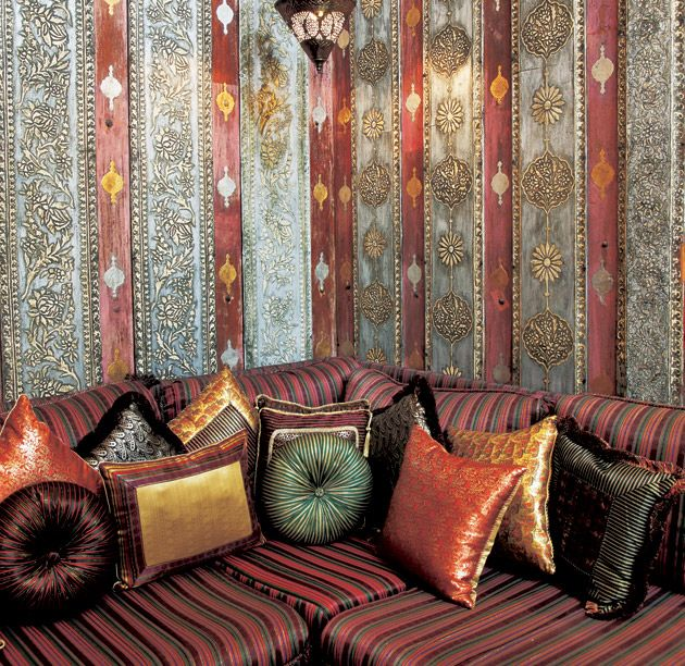 Arabian Nights Interior Design patterns in wallpaper and fabrics