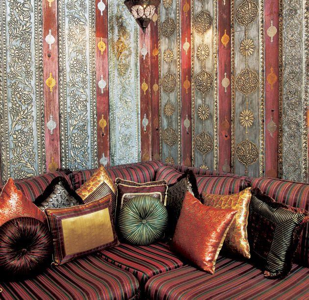 Arabian Nights Interior Design patterns in wallpaper and fabrics