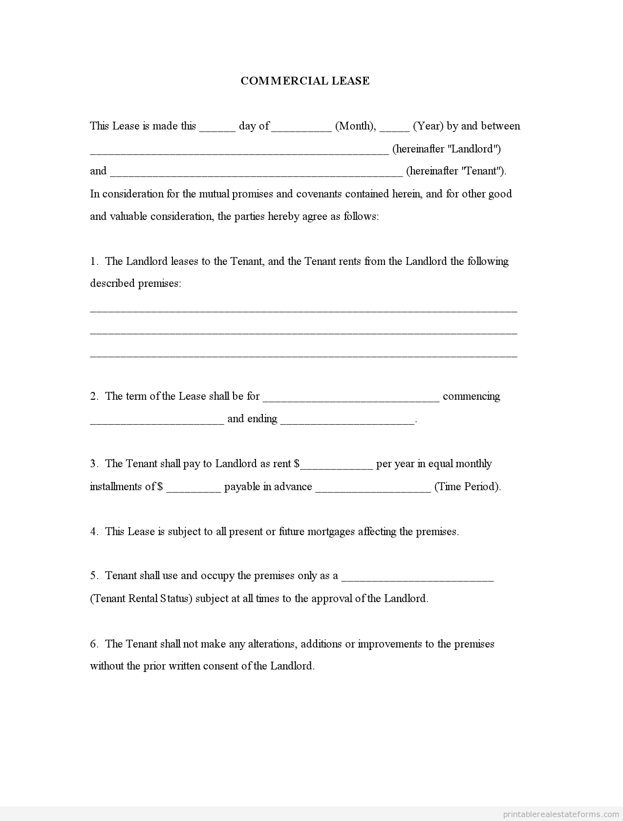 Printable Sample Commercial Lease Form  Template For Free  Docx