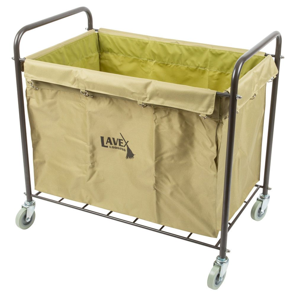 Lavex Lodging Commercial Laundry Cart Trash Cart With Handles 12 Bushel Metal Frame And Canvas Bag Hotel Linen Laundry Cart Commercial Laundry