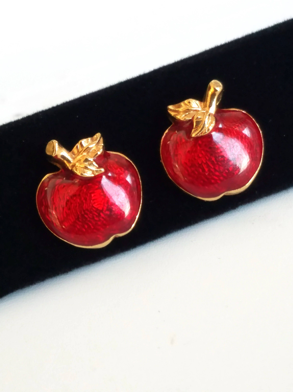 447180bafac39 Vintage Avon Earrings, Red Apple Earrings, Red Enamel Earrings for ...