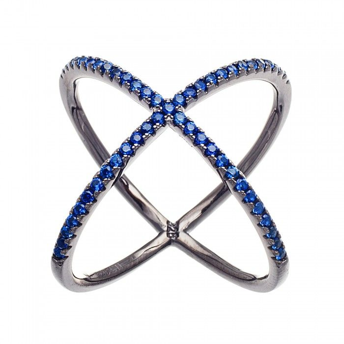 One of our best selling rings. X ring with blue CZ. #trends #rings #accessories