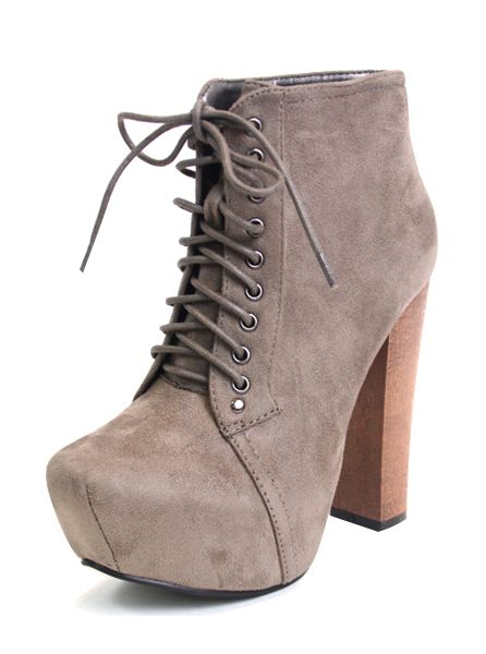 Suede Chunky High Heels