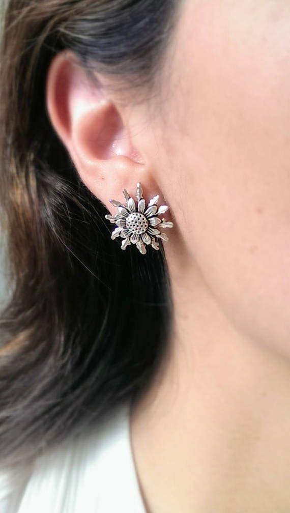 Sterling Silver Sunflower Earring Studs In Dark Oxidized Finish Nickel Free Hypoallergenic Earrings Shipping Gifts For Women