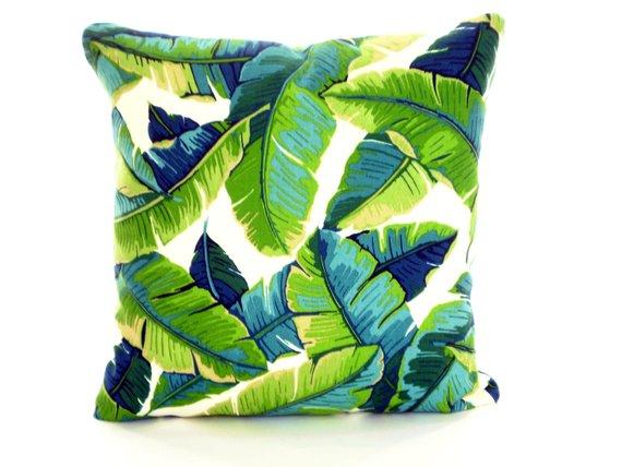 Outdoor Tropical Pillow Covers Palms Green Aqua Throw Pillows