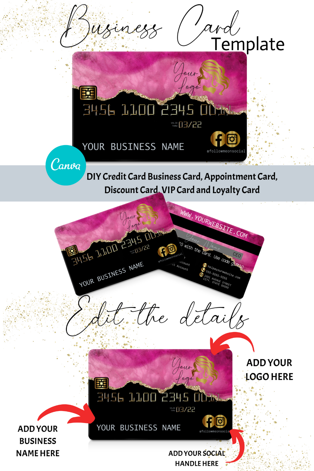Pink Agate Credit Card Business Cards Canva Template Business Etsy Business Card Inspiration Credit Card Design Gold Credit Card