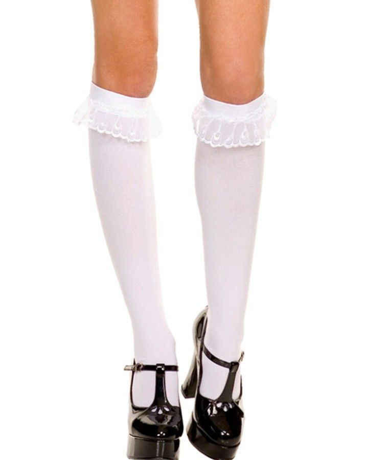 ea3e790b0a White Knee High Socks with Lace Ruffle Trim | Valentine's Day ...