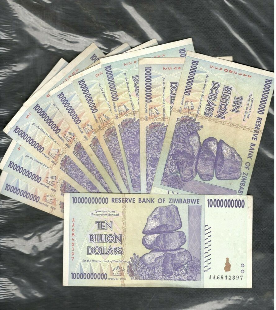 Zimbabwe $10 Billion 2008 P 85  banknotes 10 pieces Trillion