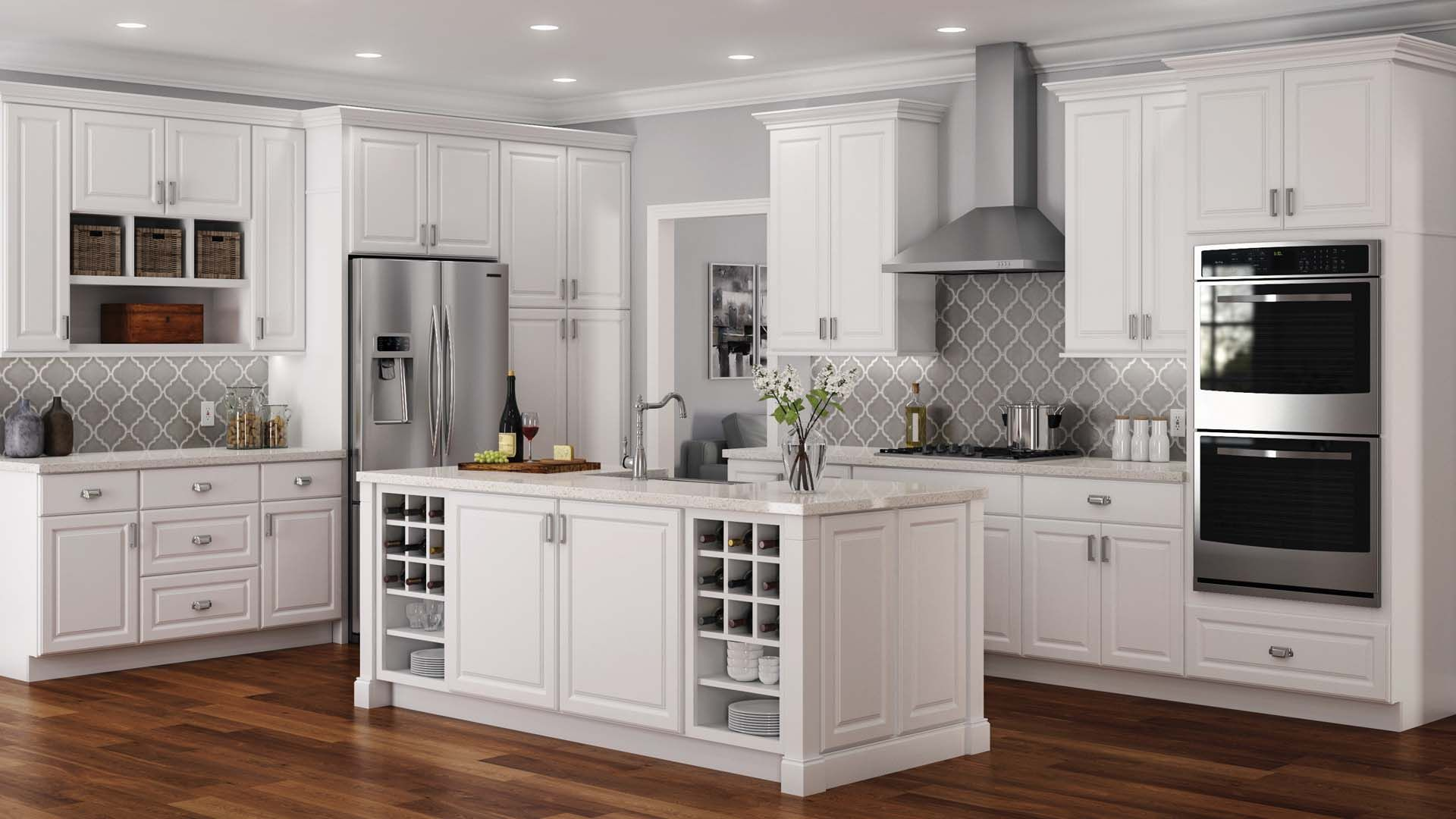 Hampton Wall Cabinets In White Kitchen The Home Depot Kitchen Cabinets Home Depot Home Depot Kitchen Kitchen Design