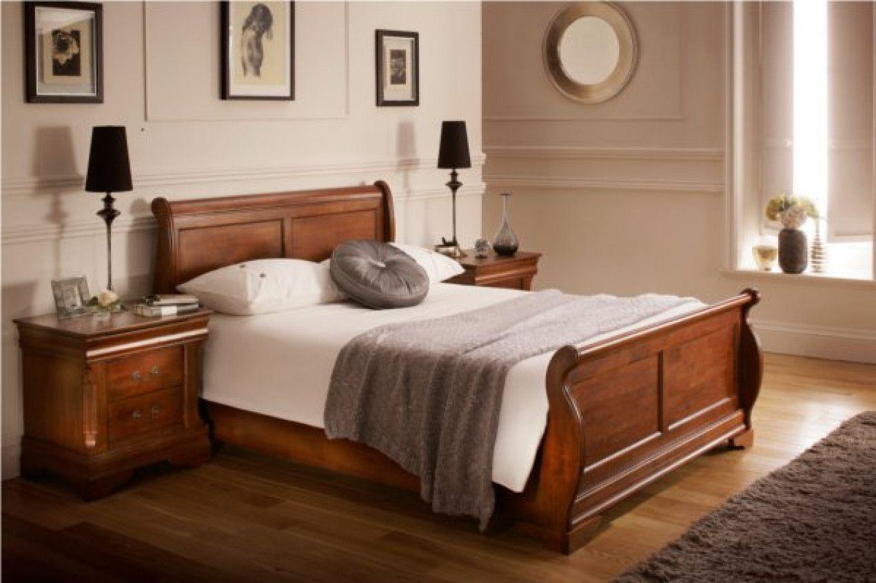 Louie Dark Wooden Sleigh Bed  Wooden sleigh bed, Classic bedroom