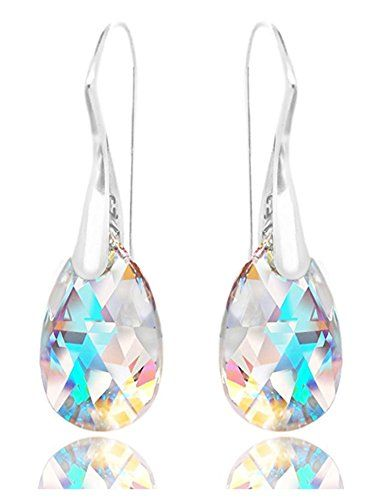 Pear Shaped Sterling Silver Aurora Borealis Drop Earrings for Women and Teen Girls Made with Swarovski Crystals pIyFDX