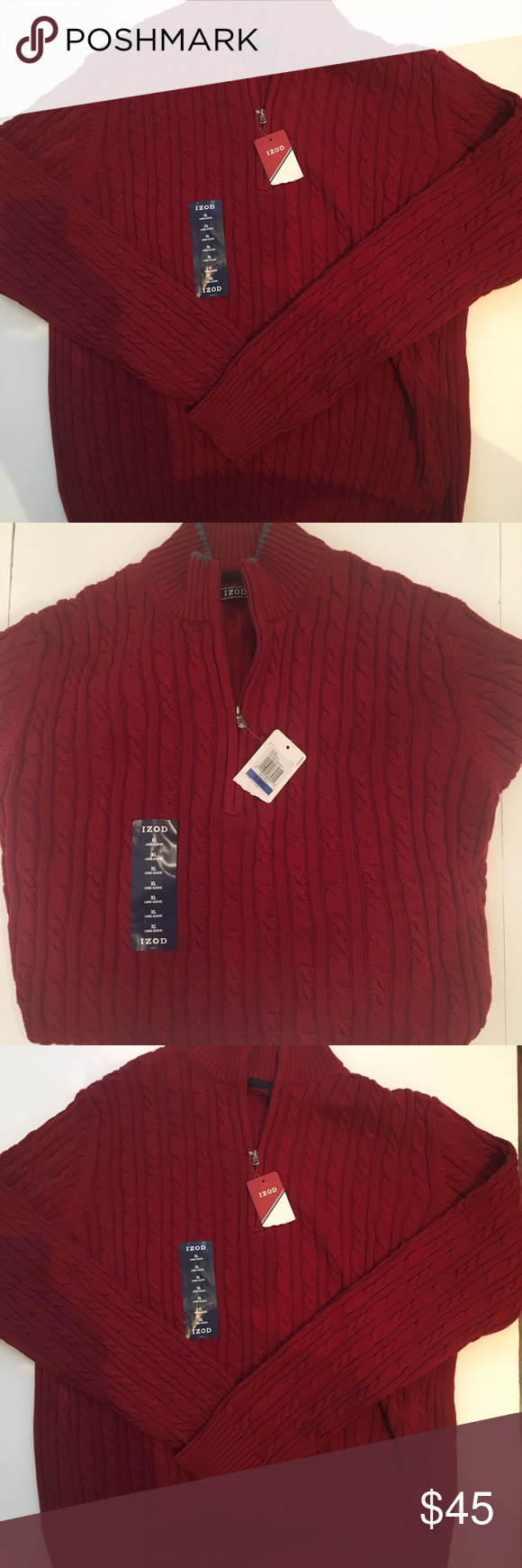 Izod Men's Cable Knit Durham Sweater Size XL NWT