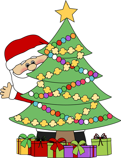 christmas clip art | santa behind a christmas tree clip art