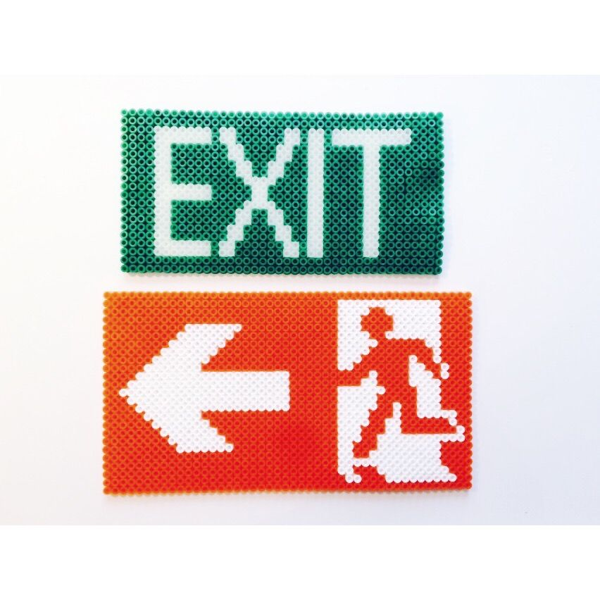 Exit signs  hama beads by Cecilie Derlien