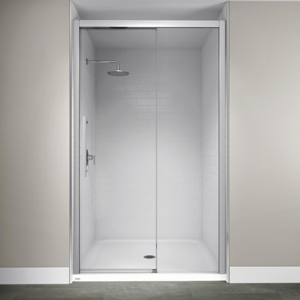 Jacuzzi 48 In X 76 In Semi Frameless Concealed Sliding Shower Door In Chrome Sd48827 Shower Doors Frameless Sliding Shower Doors Frameless Shower Doors