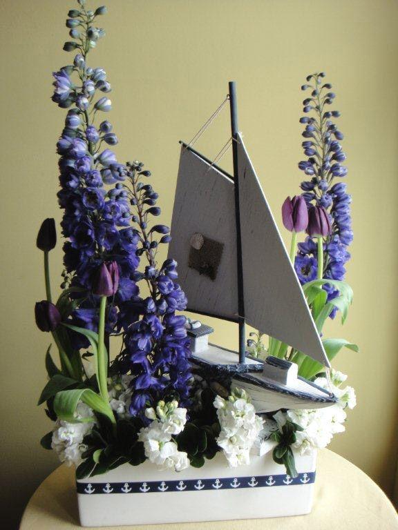 Sail boat w delphinium stock tulips delphiniums for Flower arrangements with delphinium