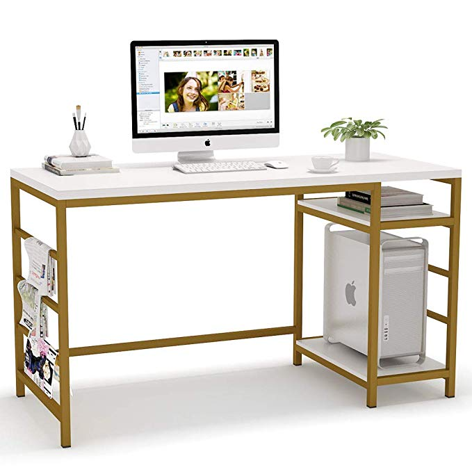 Amazon Com Tribesigns Computer Desk With Storage Shelves 55 Inch Modern Home Office Desk Study Table Wr Modern Home Office Desk Office Desk Large Office Desk