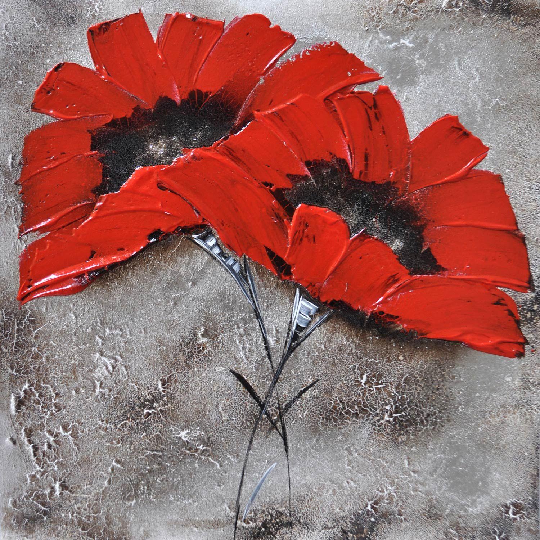 Toile Peinte Fleurs Rouges Multicolore L 30 X H 30 Cm Peindre