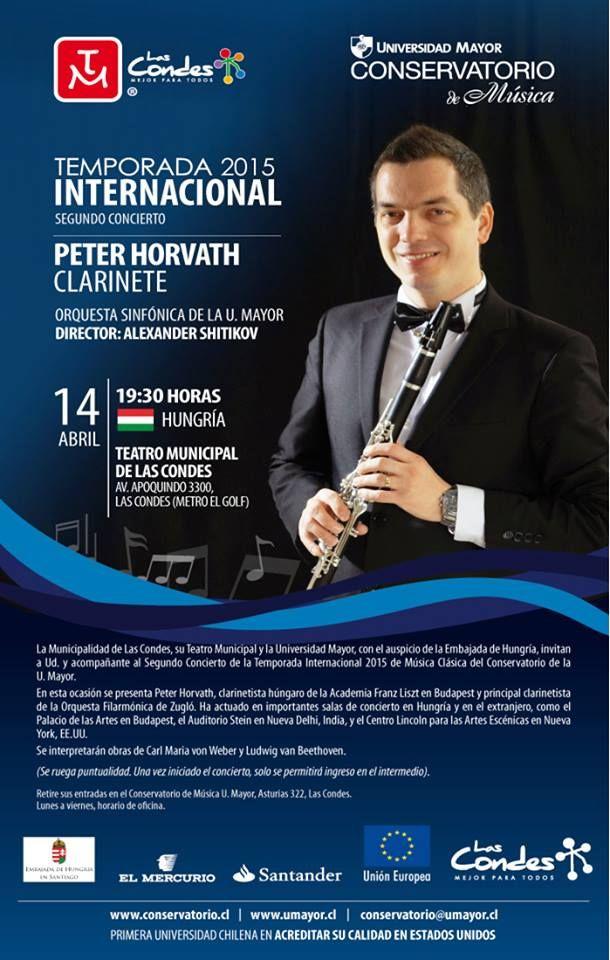 IMPERDIBLE! Temporada Internacional de Conciertos de la Universidad Mayor. El destacado clarinetista húngaro Peter Horvath,  se presenta MAÑANA  a las 19.30  en el Teatro Municipal de Las Condes. Consulta por entradas escribiendo a camila.osorio@umayor.cl.  #UMayor #Música #Conservatorio