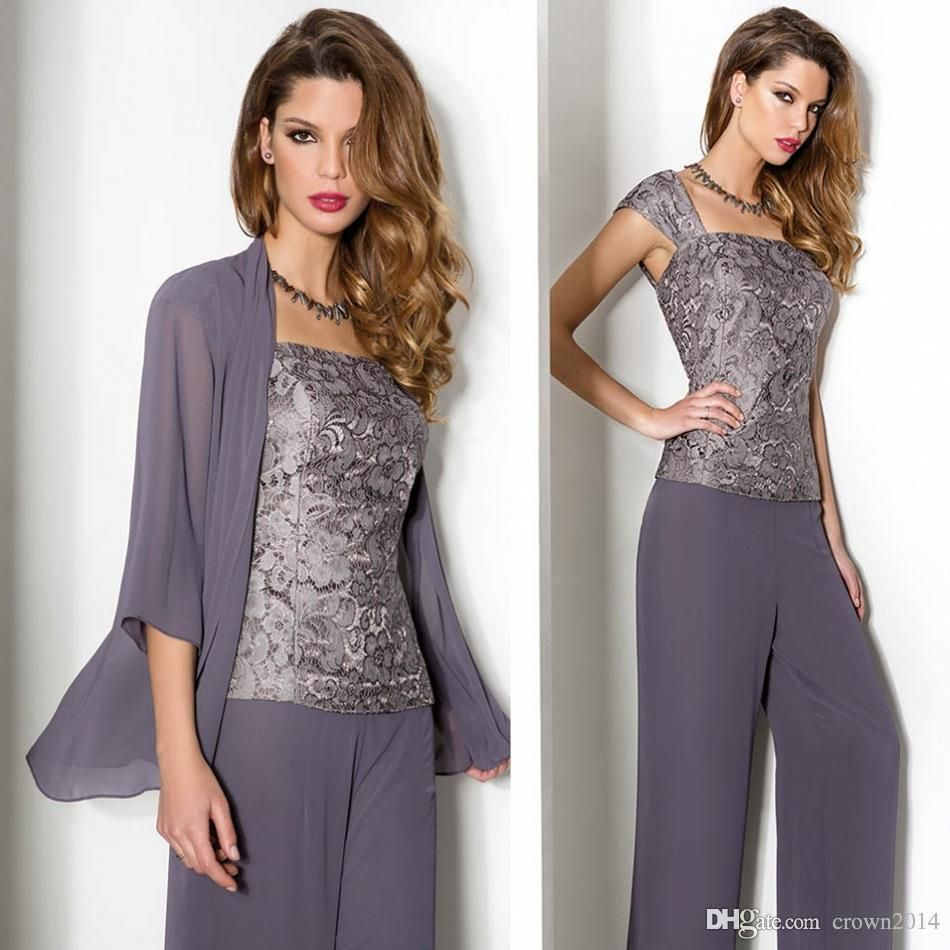 Lace dress jacket   Summer Lace Chiffon Mother Of The Bride Pant Suits With Long