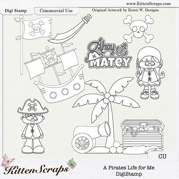 A Pirates Life For Me DigiStamps Doodles By KittenScraps Original Artwork Kristi