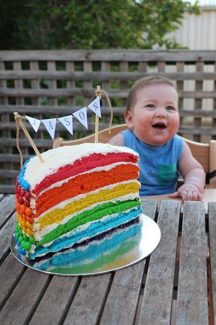 1 2 Rainbow Layer Cake For A Half Birthday 6 Months Old