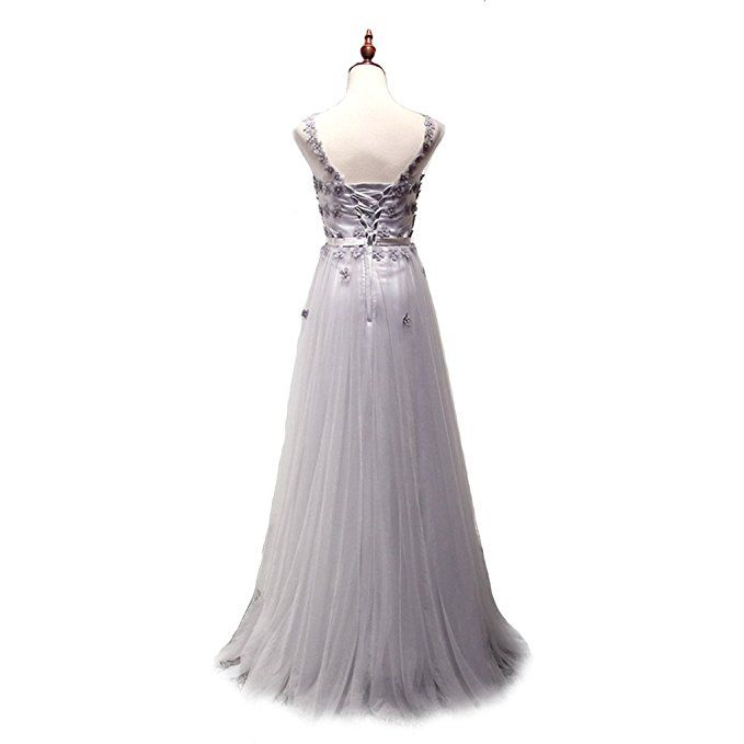 CuteShe Women\'s Long Tulle Prom Formal Evening Gown Bridesmaid ...