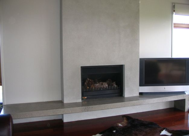 Concrete fireplaces with floating hearth google search for Concrete mantels and hearths