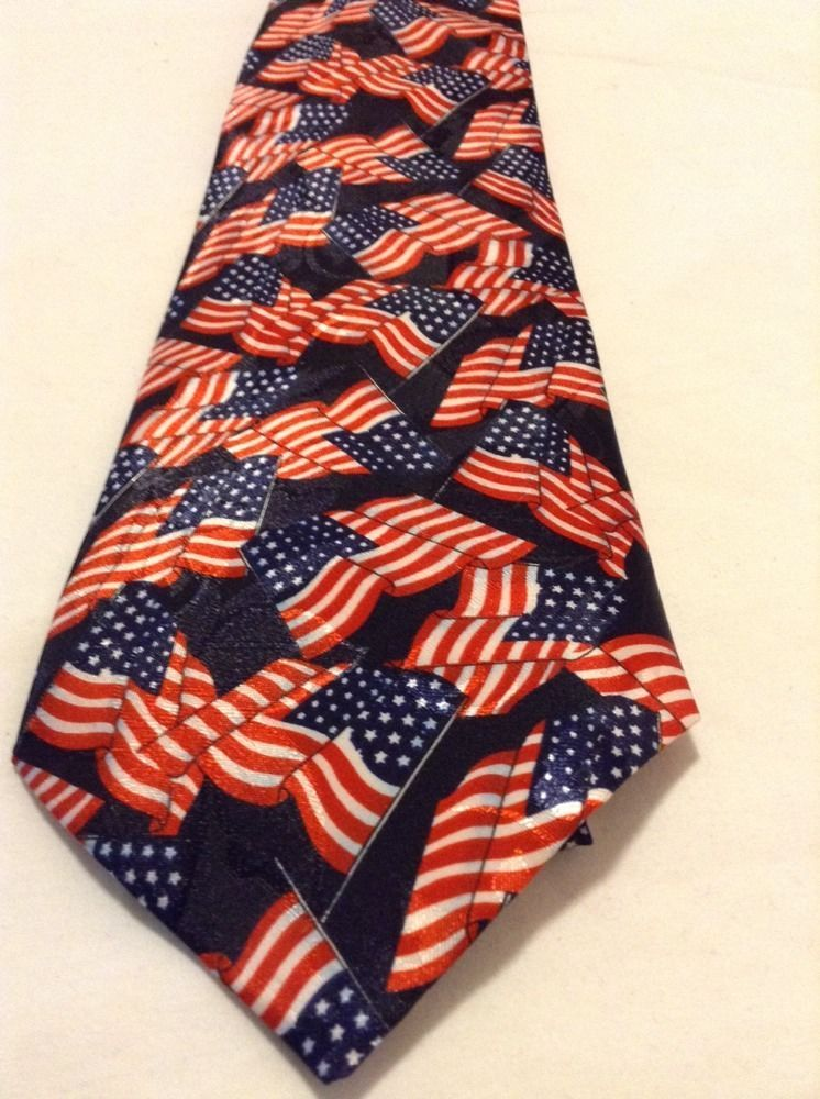 American Flag Neck Tie A Rogers Red White Blue Novelty Classic Multi Color Wide  #ARogers #NeckTie