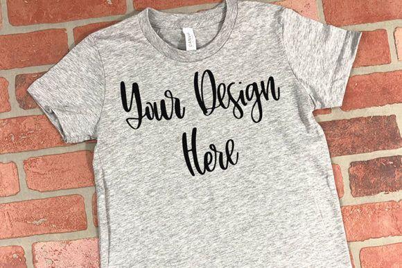 Youth Athletic Heather Unisex T-Shirt Mockup - Graphics ,