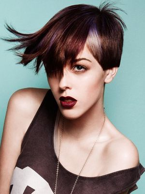 short layered punk hairstyle with highlights  new short