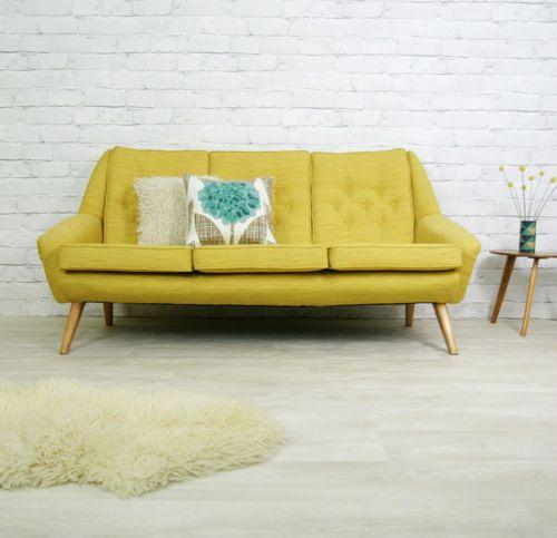 Vintage Retro Mid Century Mustard Danish Style Sofa Settee 1950s 60s Ebay Retro Sofa Vintage Style Sofas Retro Style Sofas