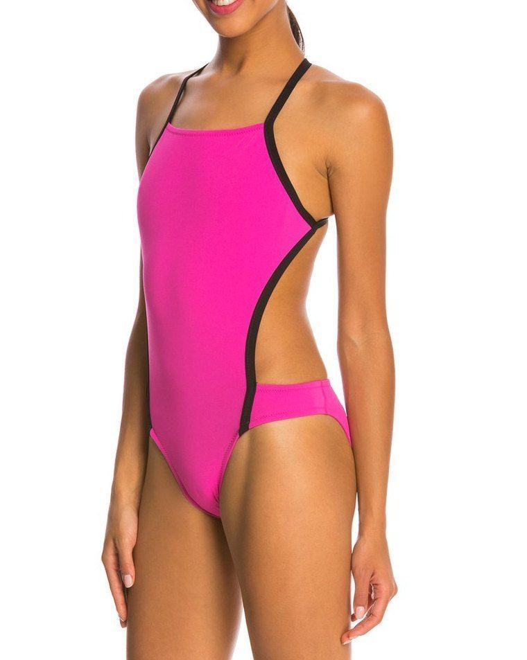 25c0be90f3874 Speedo Turnz Vee 2 Color Block Women's 28/S 1-Piece Swimsuit Cut Out Sides  NWT #Speedo #OnePiece
