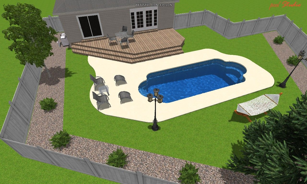 3D Roman Fiberglass Pool Design.