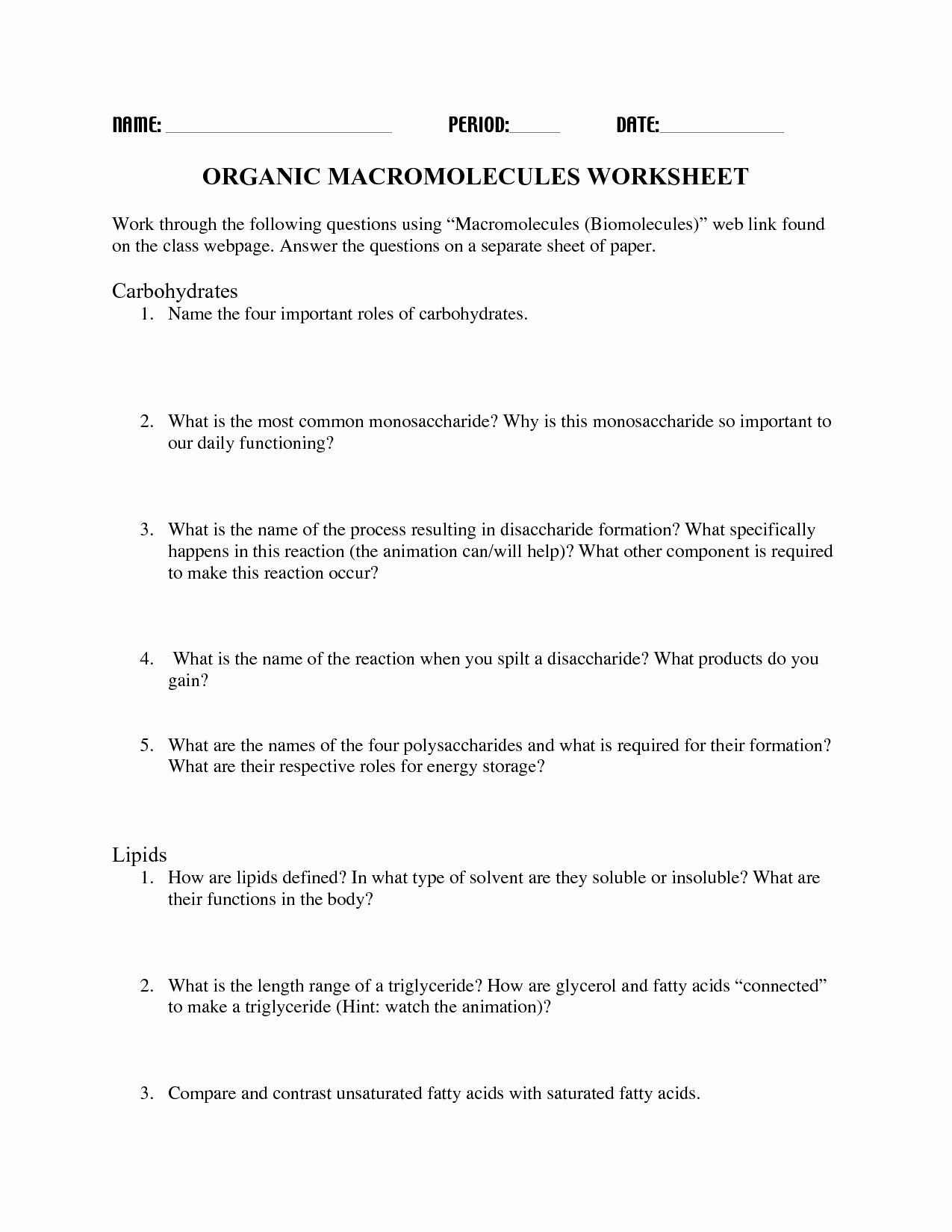 Organic Molecules Worksheet Answer Key Inspirational 14