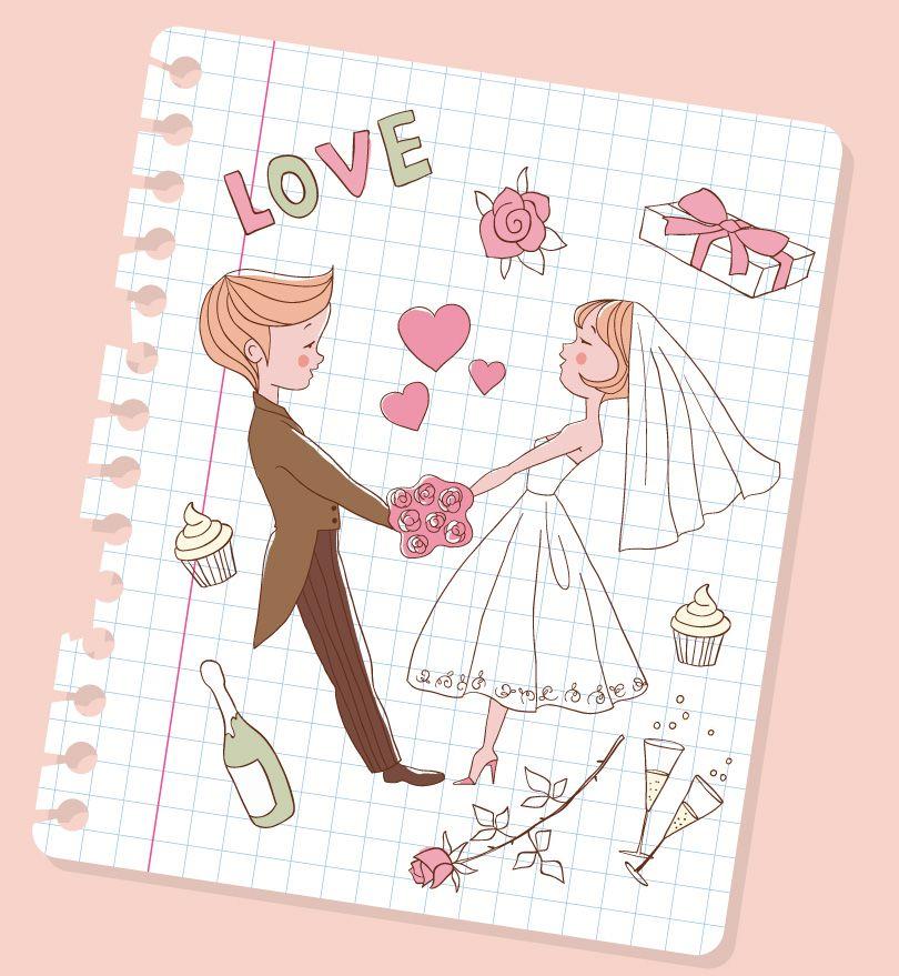 Свадебная открытка нарисовать