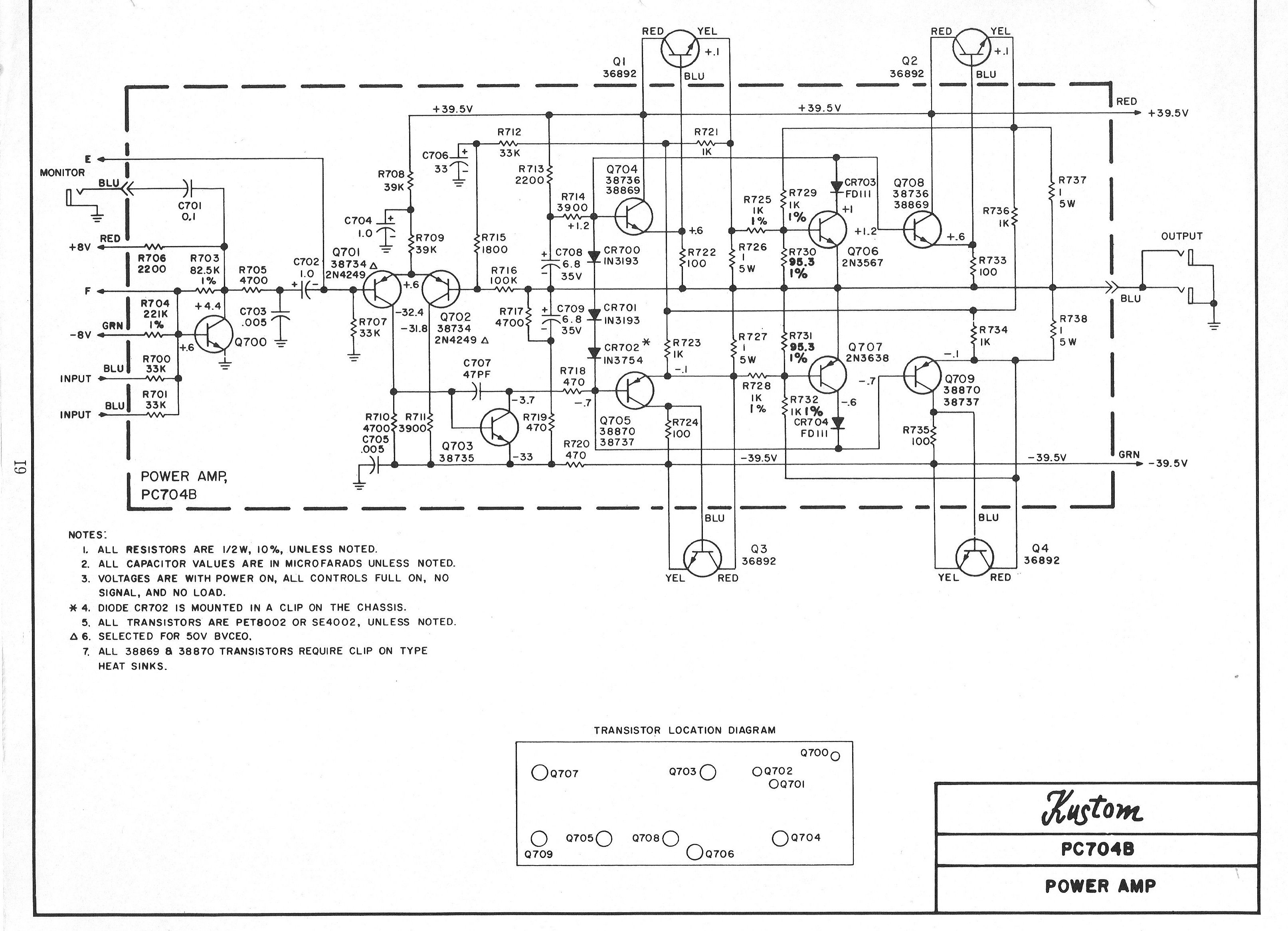 Kustom Amplifier Schematic In