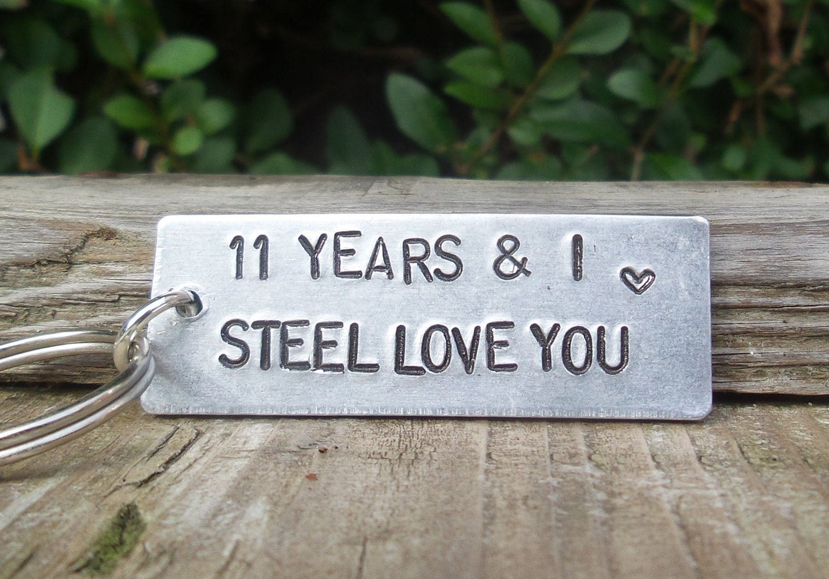 11 years and i steel love you key ring 11th wedding etsy