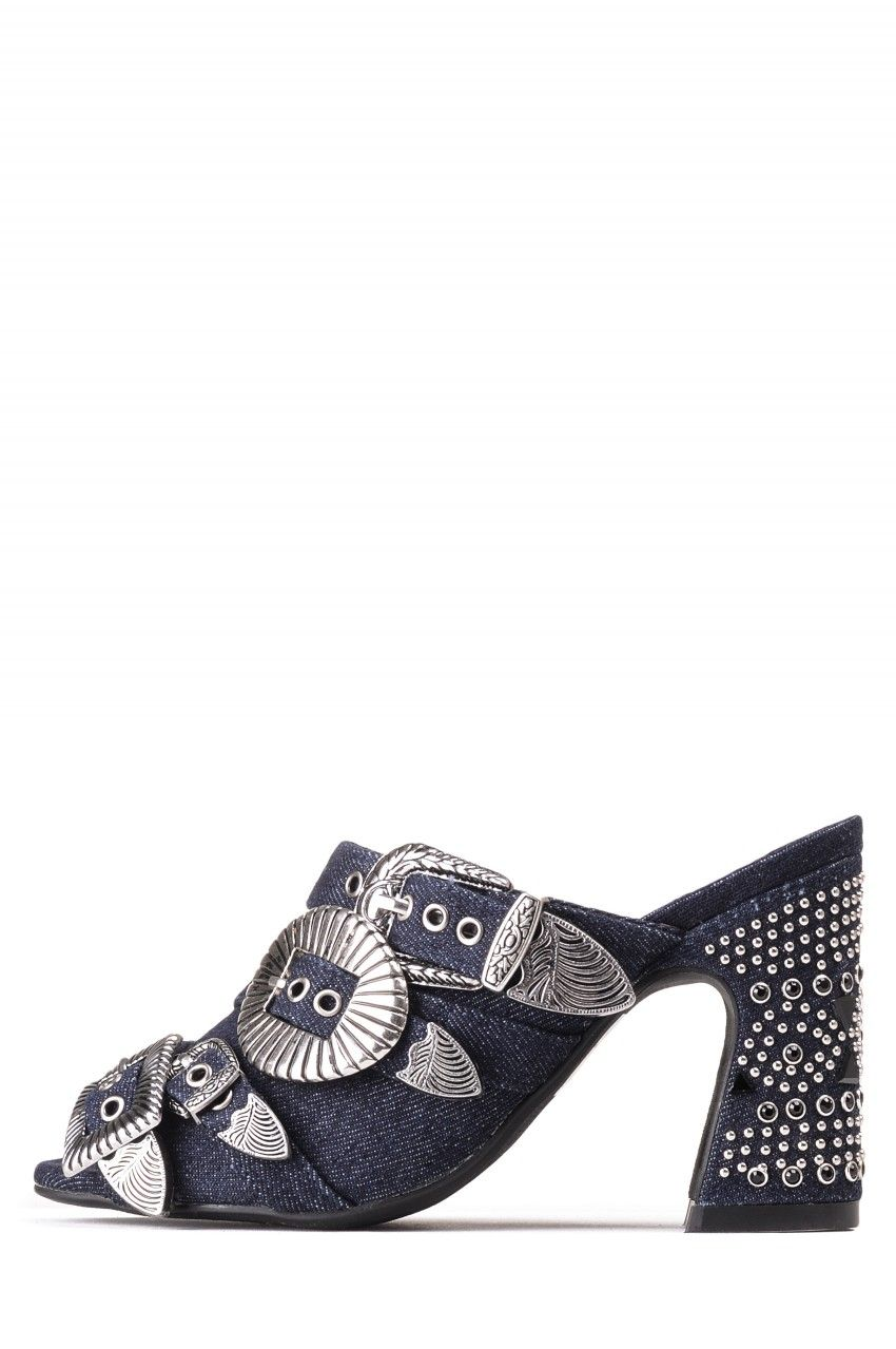 37b20485 Jeffrey Campbell Shoes FANTA-JWL STUD MUFFIN in Dark Blue Silver Zapatos  Shoes, Stud