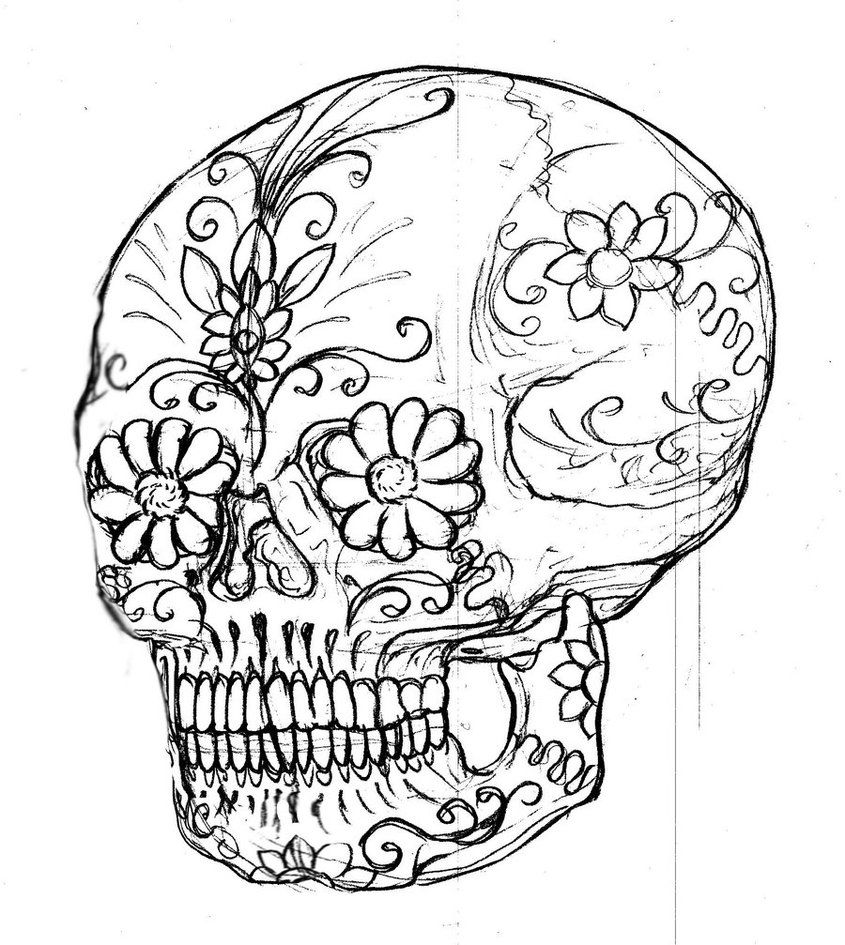 neo-traditional-styled-sugar-skull-Coloring-page.jpg | Sugar Skull ...