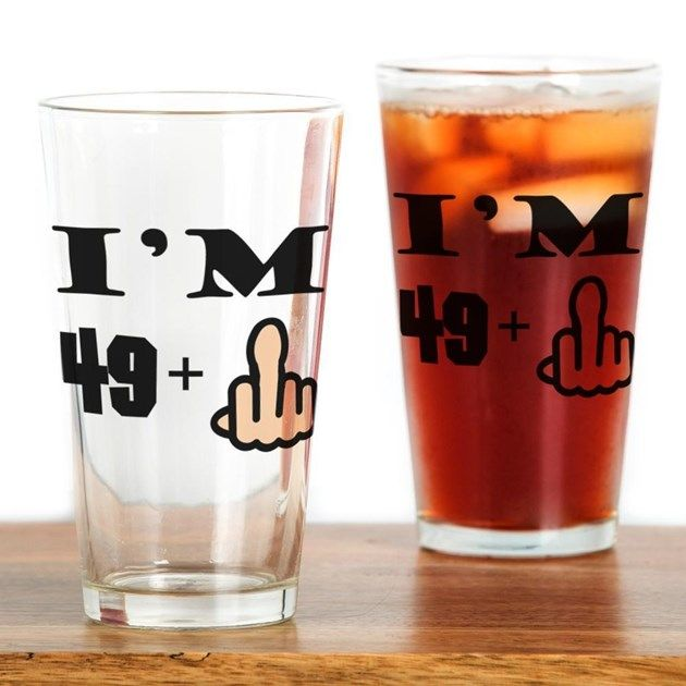 Middle Finger 50th Birthday Drinking Glass