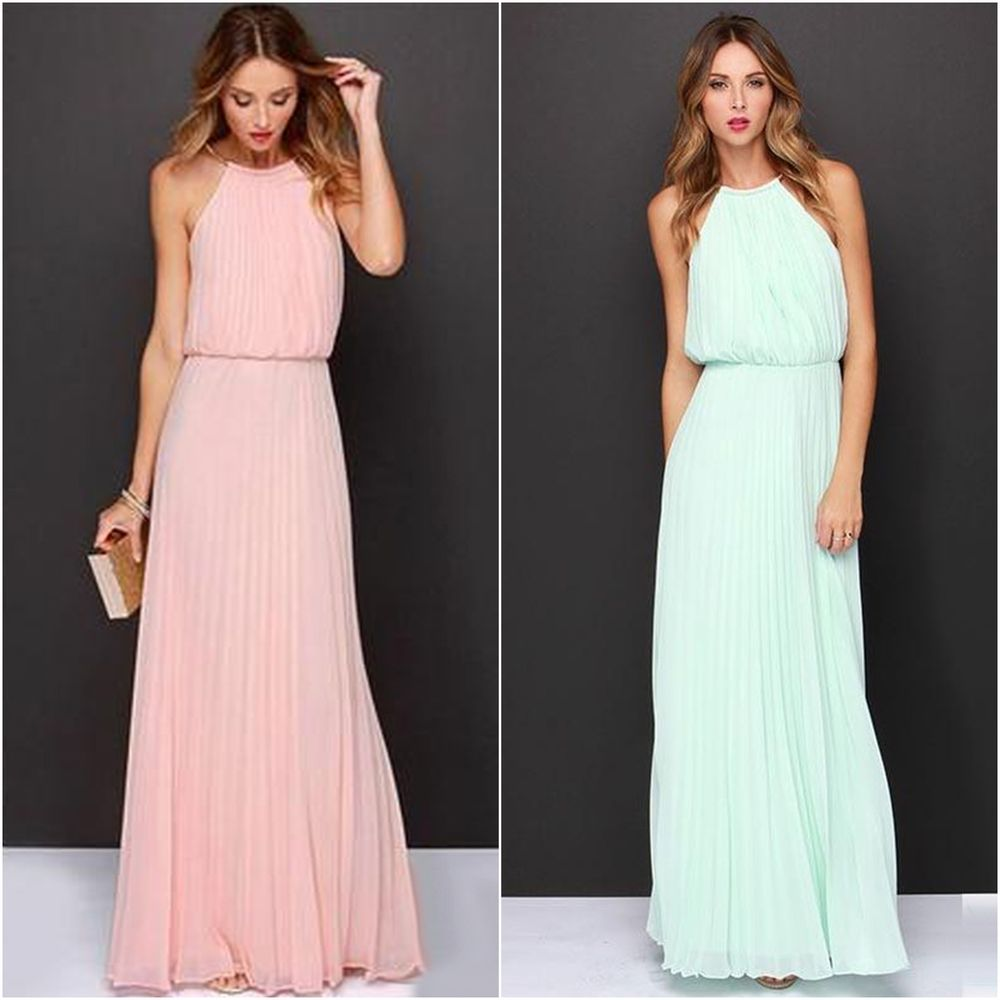 Chiffon Maxikleid elegant Sommer Kleid lang Cocktaikleid