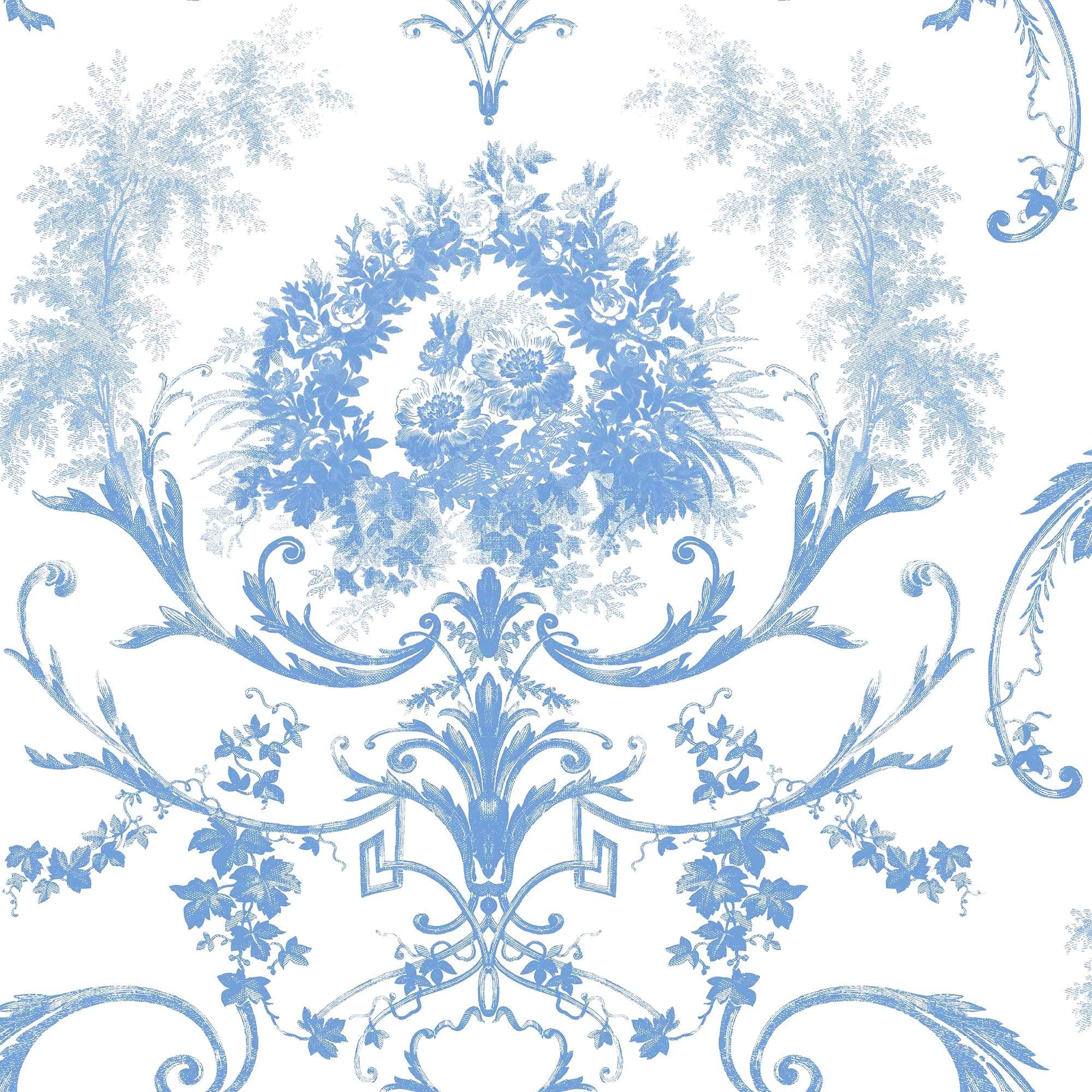 Dorma Blue Toile Wallpaper Toile wallpaper, Damask