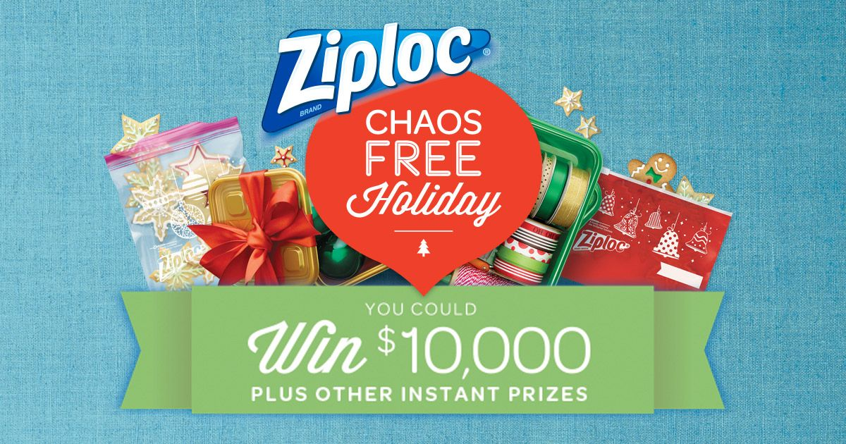 ziploc holiday sweepstakes enter the ziploc 174 chaos free holiday instant win and 868