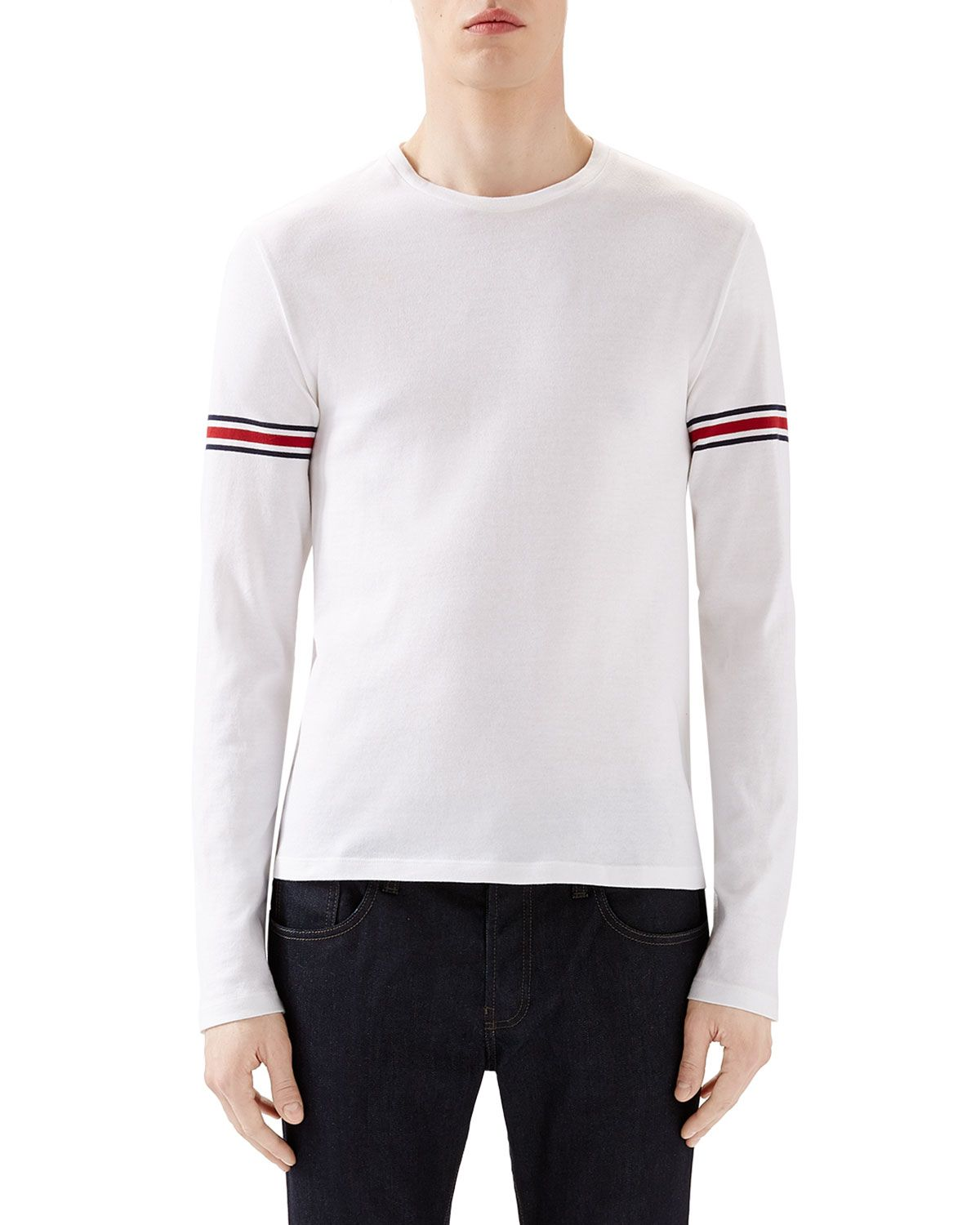 150887298 White Crew Long-Sleeve T-Shirt w/ Black/Red/Black Arm Band, Women's, Size:  XXX-LARGE - Gucci