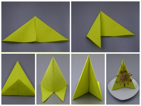 Servietten Falten Anleitung Grün Einfach Pfeiler Tischdeko
