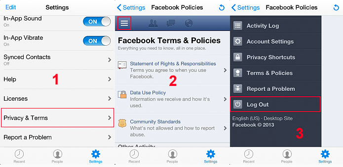 How do I log out of the iPhone or iPad app? Facebook
